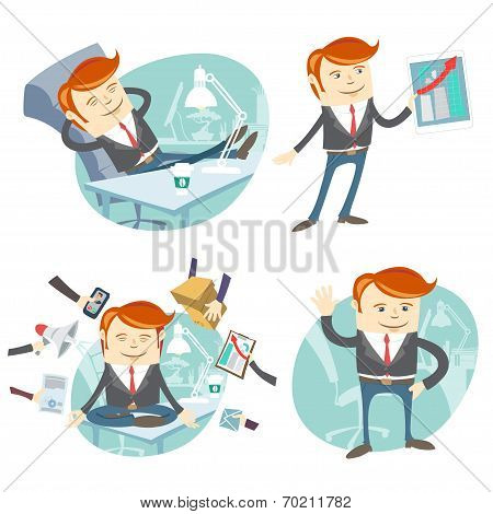 Vector Illustration Set of hipster officeman: lazy worker foot o