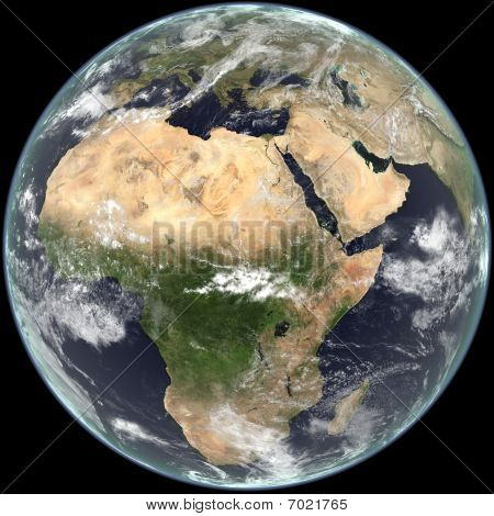 Earth - Centered on Africa, Europe and Asia