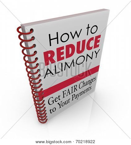 How to Reduce Alimony words as title on a book offering legal advice, assistance, information or tips on lowering the amount of your divorce spousal support payments