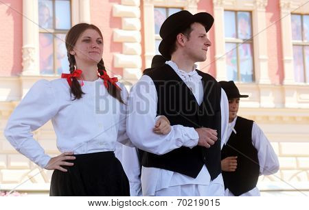 ZAGREB, CROATIA - JULY 20: Members of folk groups St. Jerome from Strigova, Croatia during the 48th International Folklore Festival in center of Zagreb, Croatia on July 20, 20