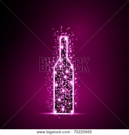 Wine Bottle light abstract design background, easy all editable