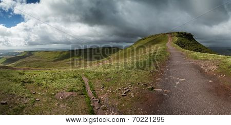 Panorama Landscape Over Brecon Beacons National Park