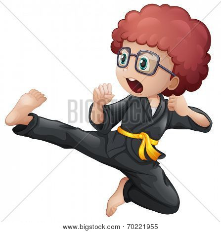 Illustration of a kid doing karate on a white background