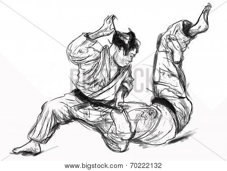 Judo - Hand Drawn Illustration Converted Into Vector