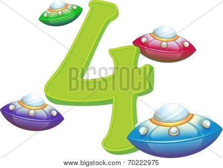 Illustration of the four flying saucers on a white background