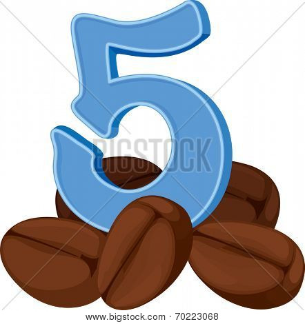Illustration of the five coffee beans on a white background
