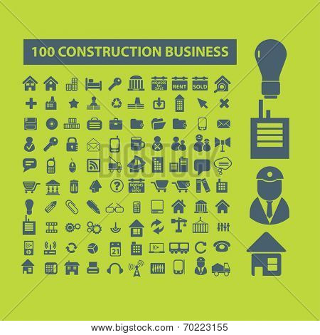 100 construction business icons, signs set, vector