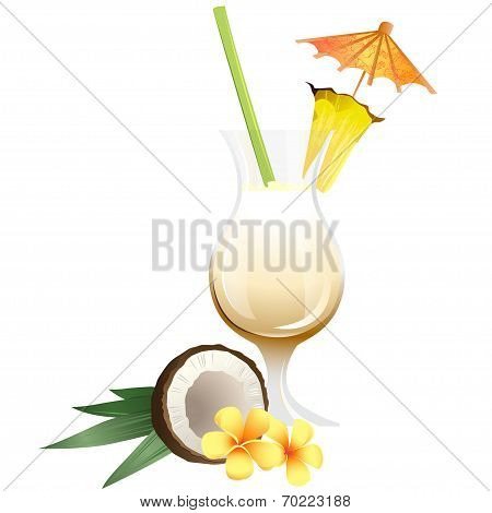 Cocktail Pina Colada with garnish