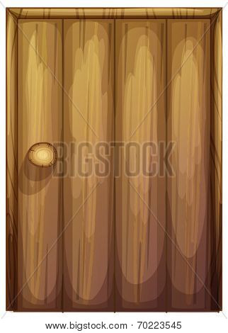 Illustration of a wooden door on a white background
