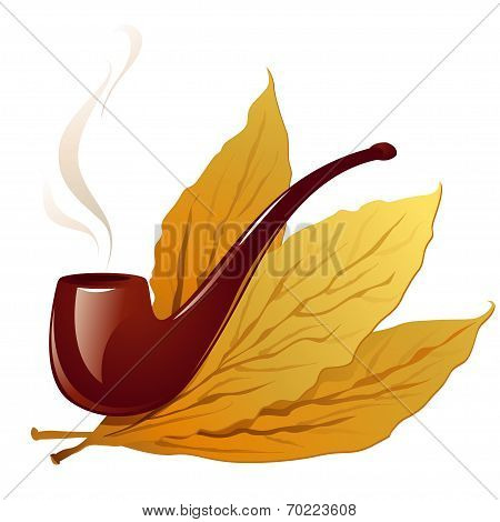 Vintage pipe in closeup and isolated in white with three tobacco