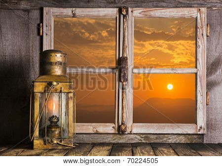 Romantic Background Of Wood With Sunrise