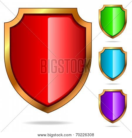 Set of color glossy shields isolated on white background.