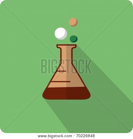 Flat beaker icon. Flask with chemical reagent.