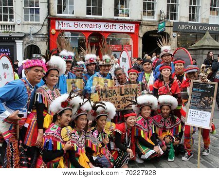 EDINBURGH- AUGUST 16: Members of Langasan Theatre publicize their show Misa-Lisin during Edinburgh Fringe Festival on August 16, 2014 in Edinburgh Scotland