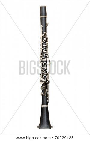 The image of a clarinet isolated under the white background