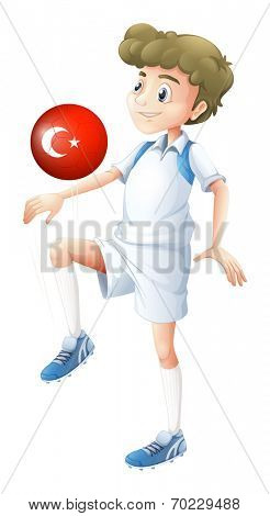 Illustration of a football player using the ball with the flag of Turkey on a white background
