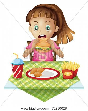 Illustration of a hungry child eating on a white background