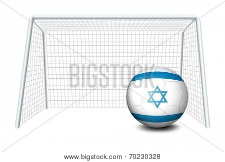 Illustration of a ball near the net with the flag of Israel on a white background