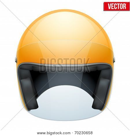 Orange motorbike classic helmet with clear glass visor. Vector.