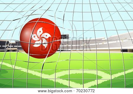 Illustration of a soccer ball at the field with the flag of Hongkong