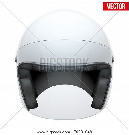 White motorbike classic helmet with clear glass visor. Vector.