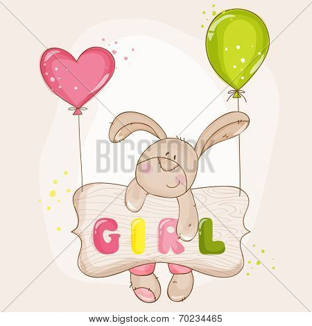 Baby Bunny with Balloons - for Baby Shower or Baby Arrival Cards - in vector