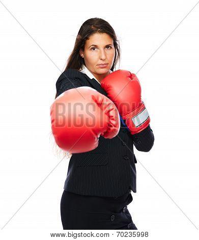 Boxing Business Woman Punching