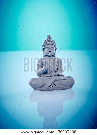 Grey Buddah In Lotus Pose