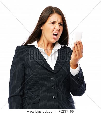 Business Woman Surprised Angry News Text Message