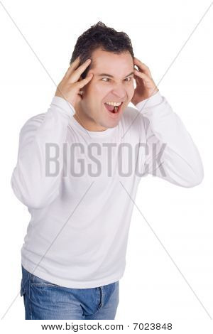 Angry Man Screaming Isolated Over the White