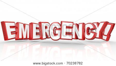 Emergency Word 3d Letters Big Disaster Problem Crisis