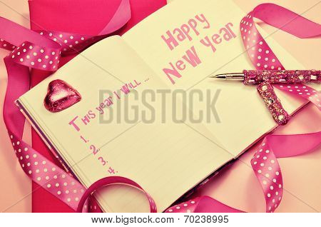 Happy New Year Resolutions In Diary Journal