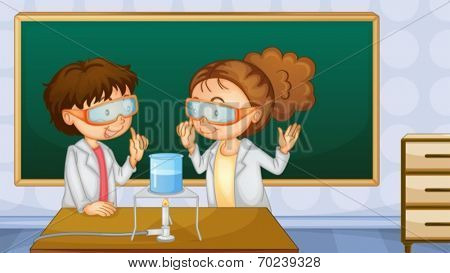 Illustration of two students working in the lab