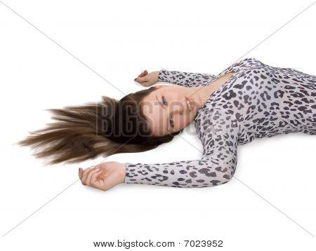 Bild von schöne Frau mit langen braunen Haaren