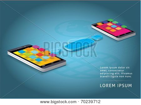 Smart phones and cloud computing concept vector illustration