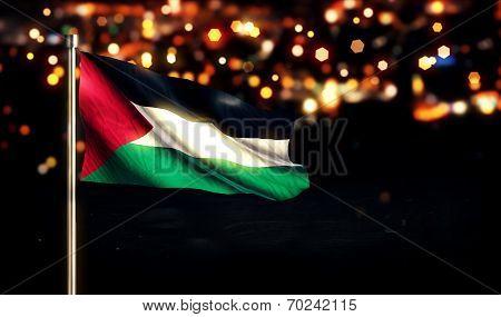 Palestine Flag City Light Night Bokeh Background 3D