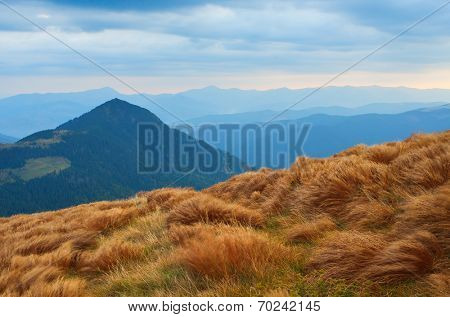 Autumn landscape in the mountains. Wind rustles the dry grass
