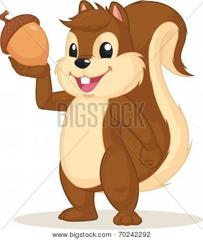 Squirrel Mascot Holding Nut