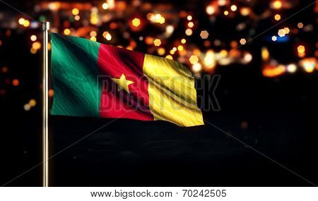 Cameroon National Flag City Light Night Bokeh Background 3D