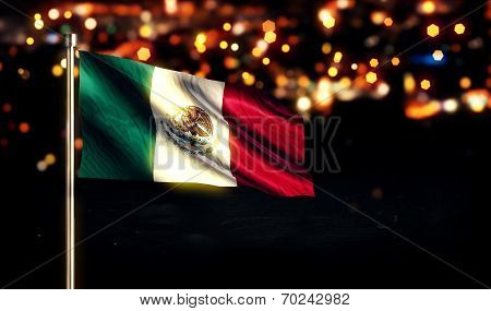 Mexico National Flag City Light Night Bokeh Background 3D
