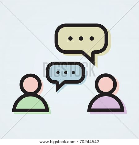 Dialogue Illustration With Two Persons And Colorful Speech Bubbles In Flat Style.