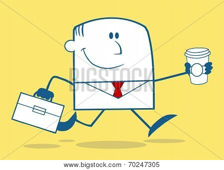 Lucky Businessman Running To Work With Briefcase And Coffee Monochrome Character On Yellow B