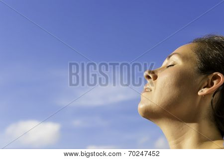 Young Woman Breathing The Fresh Air