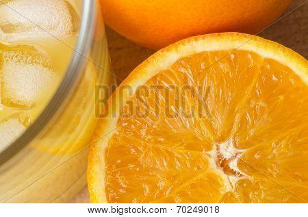 Orange And Juice With Ice Overhead
