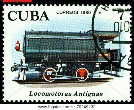 Vintage  Postage Stamp.  Antique Steam Storage Locomotive.