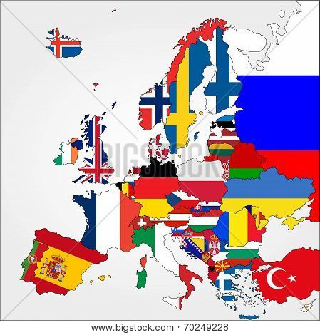 Highly Detailed Europe Map With Country Flags.