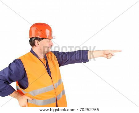 Worker in reflective waistcoat point the finger.