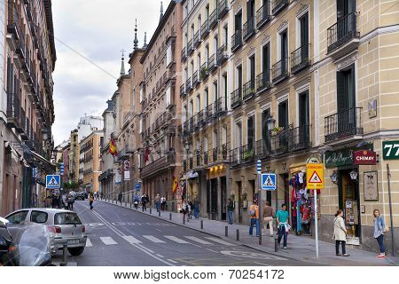 MADRID, SPAIN - MAY 28, 2014: Street in Madrid city center