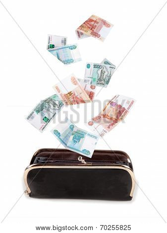 Russian Money Falling Into The Purse