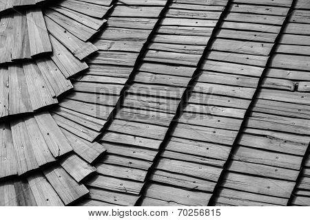 Old roof wooden tile background